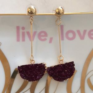 Jewelry - Wine Semicircle Drusy Drop Dangle Earring